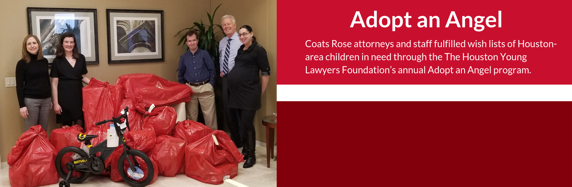 Coats Rose Attorneys and Staff Fulfill Children's Wish Lists Through Houston Young Lawyers Foundation's Adopt an Angel Program
